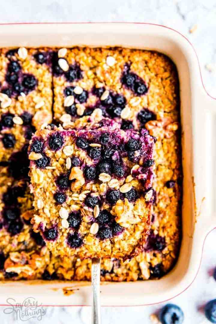 sliced blueberry baked oatmeal - trim healthy mama friendly