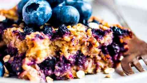 blueberry baked oatmeal for trim healthy mama on a plate