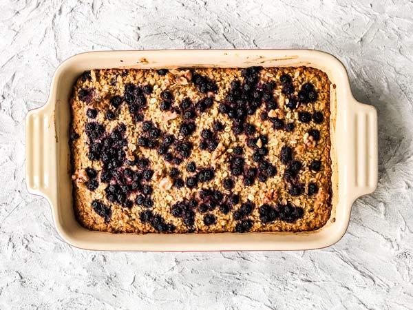 finished blueberry baked oatmeal