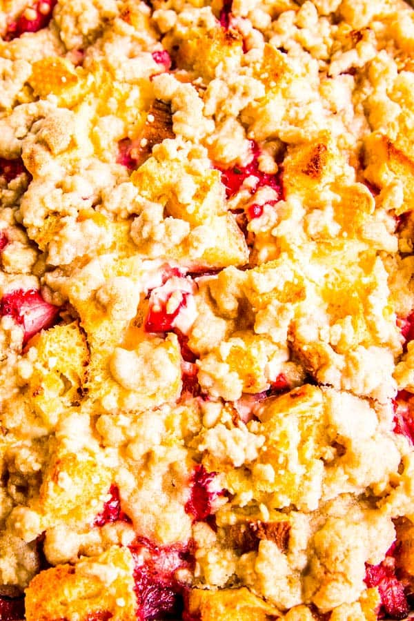 close up of strawberry French toast casserole with cream cheese