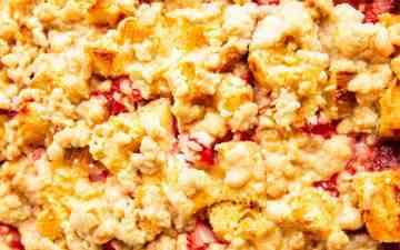 close up photo of the top of a strawberry cream cheese French toast bake