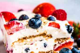triple berry icebox cake with low carb, keto, trim healthy mama ingredients