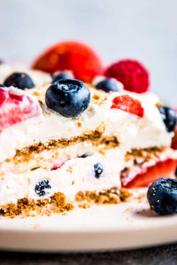 close up photo of triple berry icebox cake