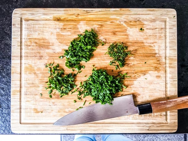 chopped herbs for green goddess omelette