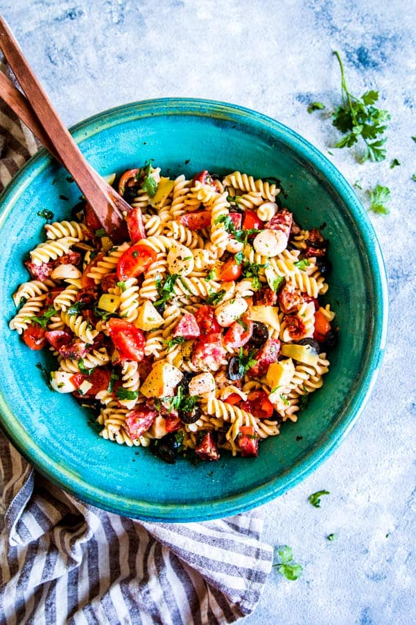 Italian Pasta Salad in a large blue bowl