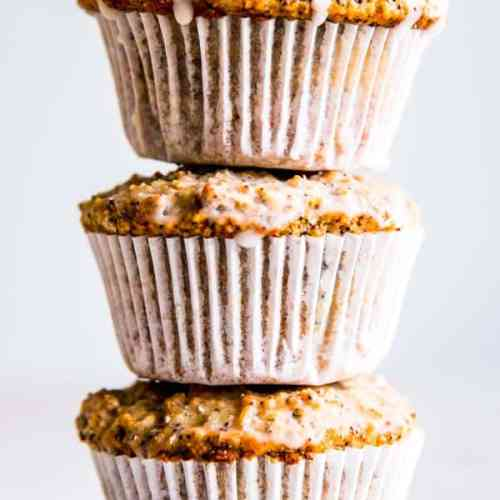 a stack of coconut lemon poppy seed muffins