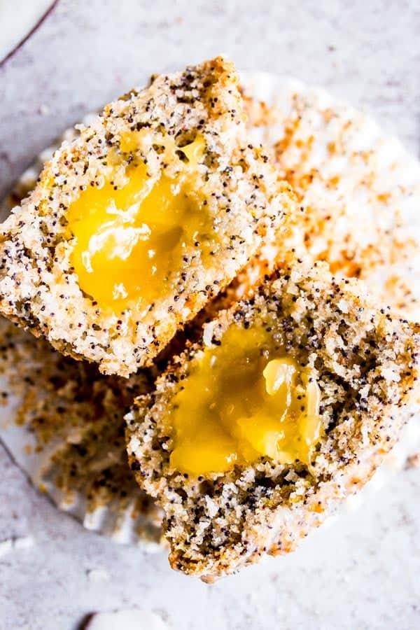 coconut lemon poppy seed muffin cut in half