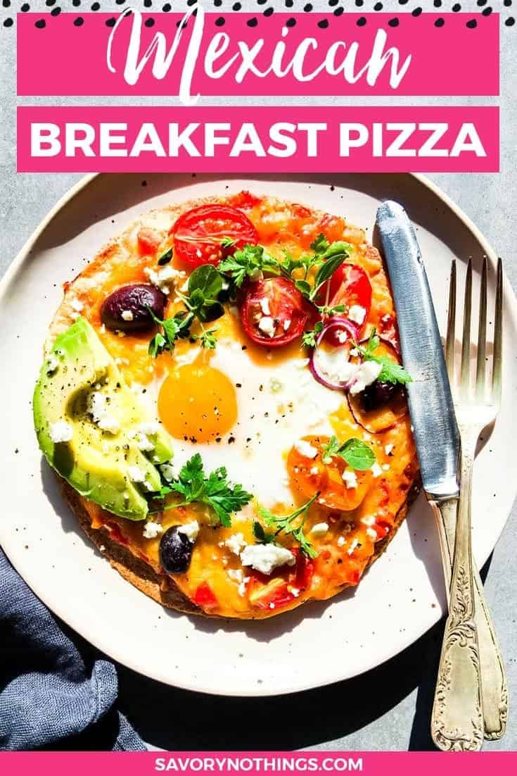 This healthy Mexican breakfast pizza is about to become your new favorite healthy breakfast recipe. And your kids can't even fight over who gets the last bite, be cause they each get their own individual pizza! The best part though? It is SO easy to make. Feel free to use any toppings your family enjoys - we love sliced avocado, crumbled feta cheese and herbs. | #recipe #easyrecipes #breakfast #backtoschool #brunch #breakfastrecipes #healthy #healthyrecipes #healthyfood #cleaneating #cleaneatingrecipes #healthyliving #kidfriendly