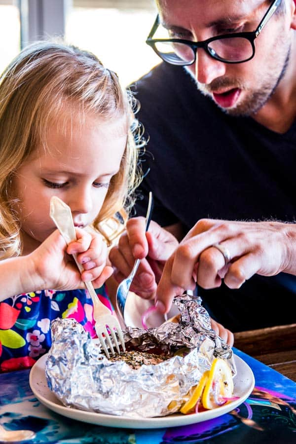 dad and daughter at the dining table