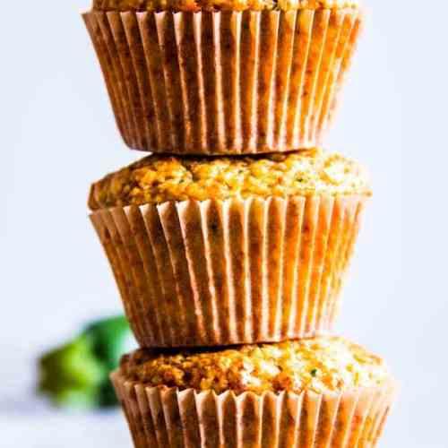 stack of zucchini oatmeal muffins