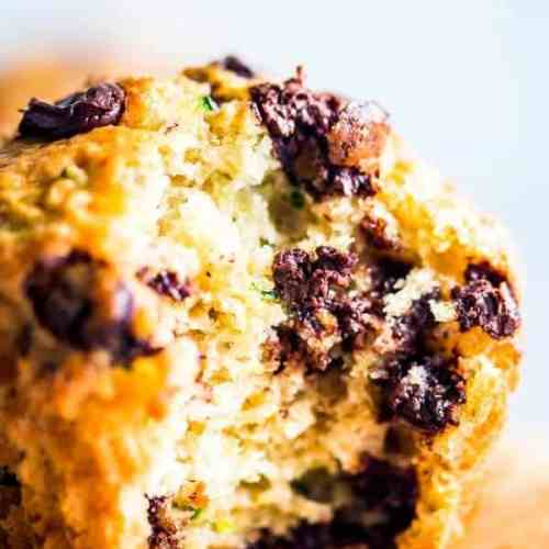 chocolate chip zucchini muffin with a bite taken out