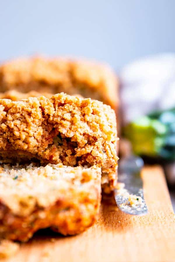close up photo of cinnamon crunch zucchini bread