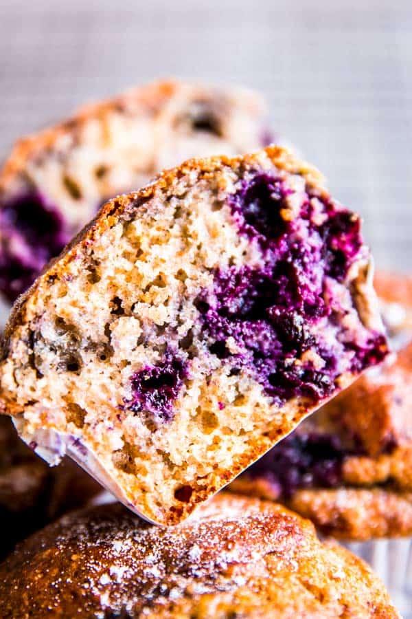 a halved greek yogurt blueberry muffin