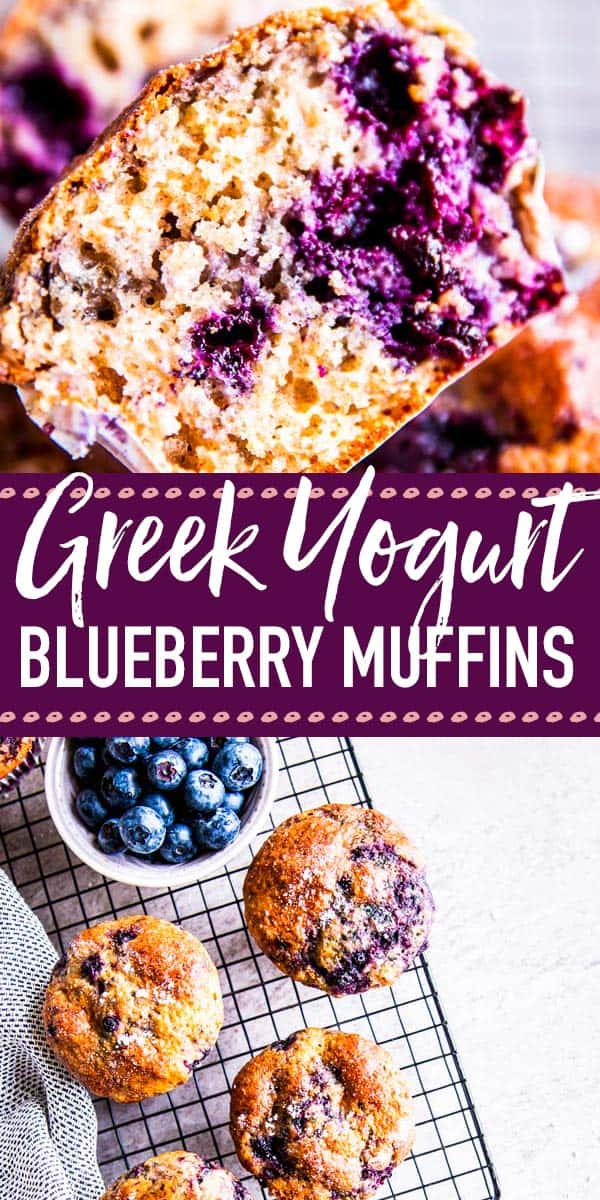 Greek Yogurt Blueberry Muffins are an easy and healthier way to have breakfast! Quick to mix up and super freezer-friendly, this is a back to school treat you don't want to miss. Made with healthy ingredients like whole wheat flour and Greek yogurt. | #recipe #easyrecipes #baking #bakingrecipes #muffins #muffinrecipes #breakfast #brunch #backtoschool #lunchbox #healthyfood #healthyrecipes #healthyliving #kidfriendly