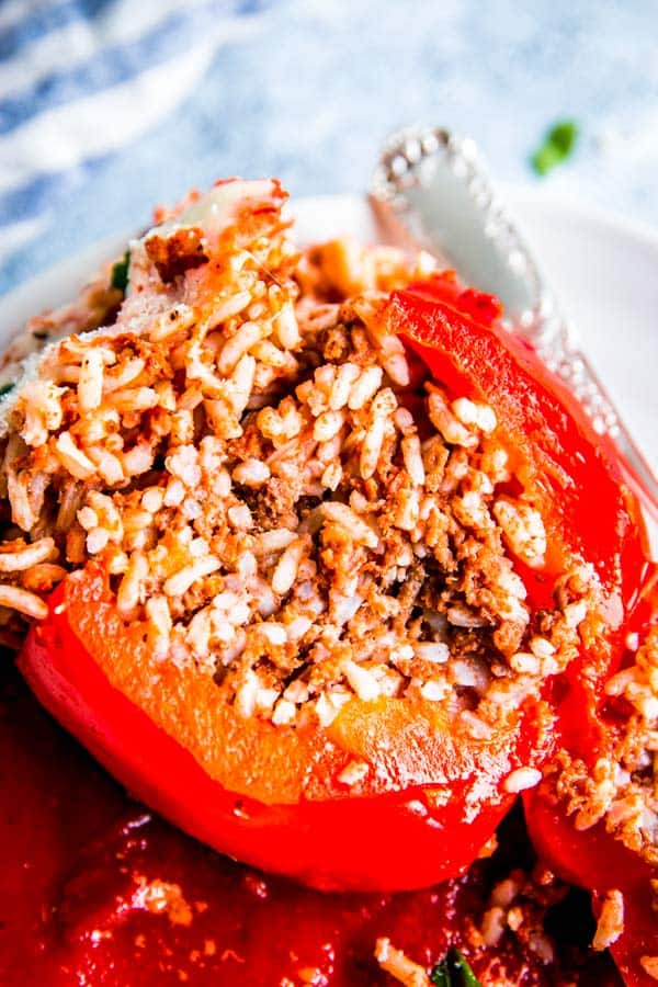 sliced slow cooker stuffed pepper