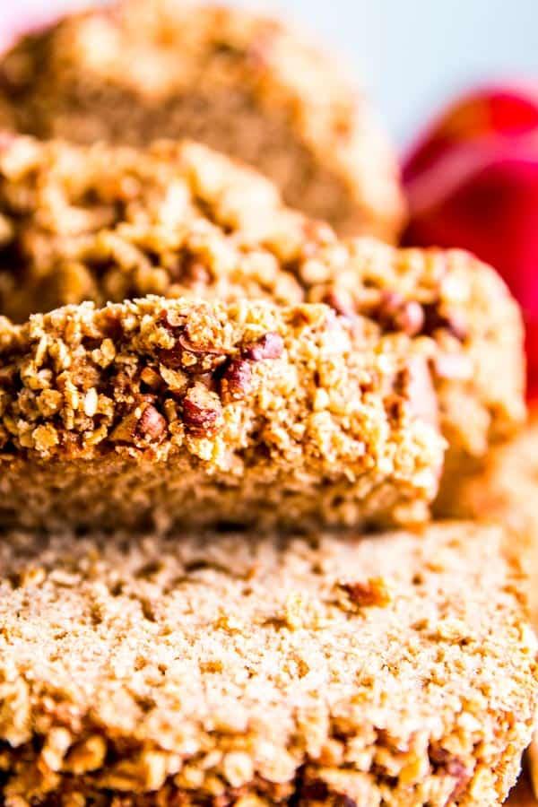 close up photo of applesauce bread