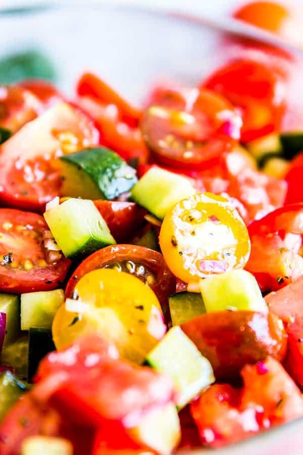 close up photo of tomato cucumber salad
