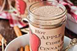 jam jar with a homemade label, filled with diy apple cider spice mix