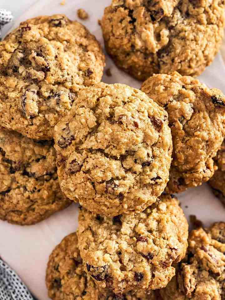 overhead closeup of pile of oatmeal raisin cookies