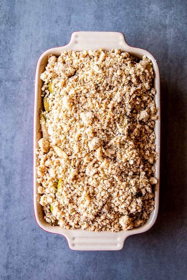 pear crisp in a baking dish