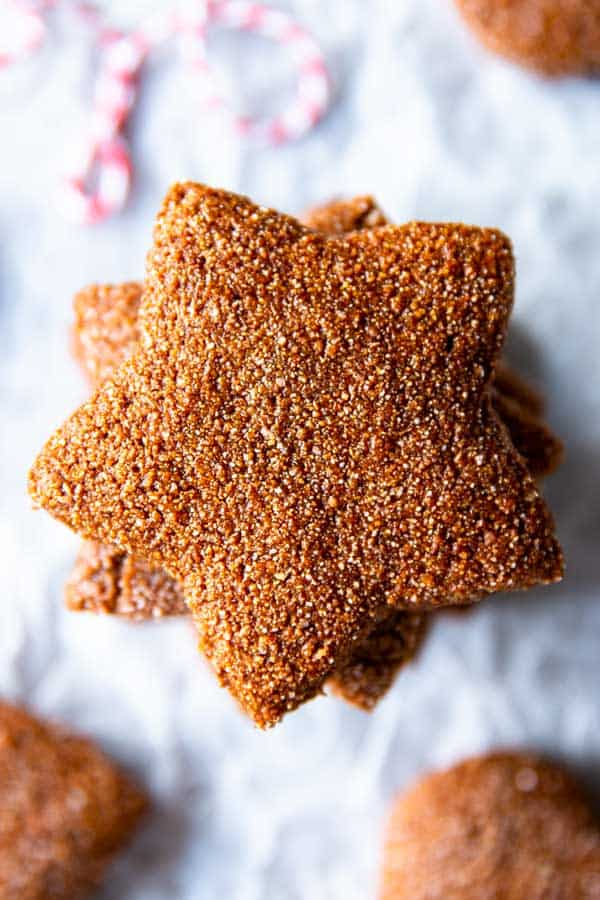 gingerbread star on the counter