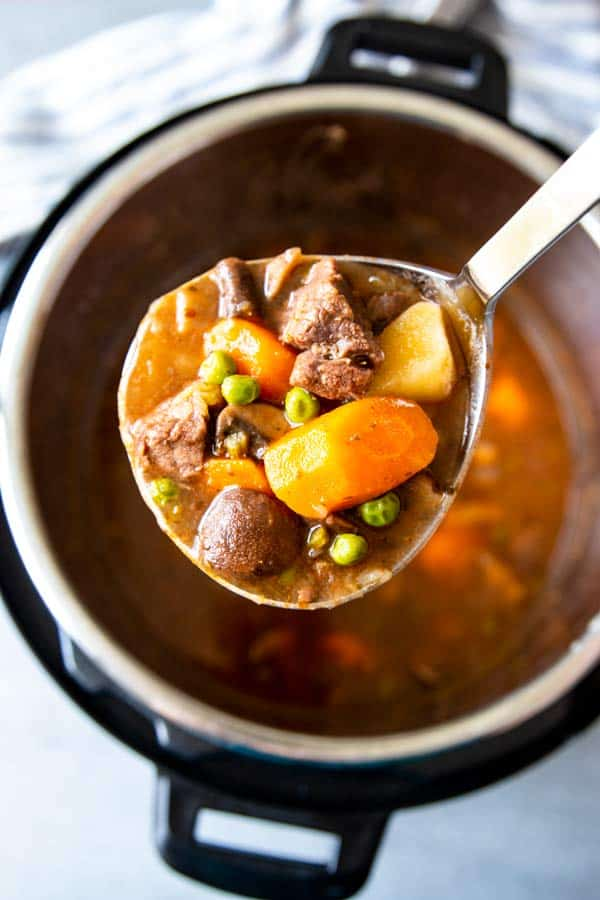 ladling beef stew from an instant pot