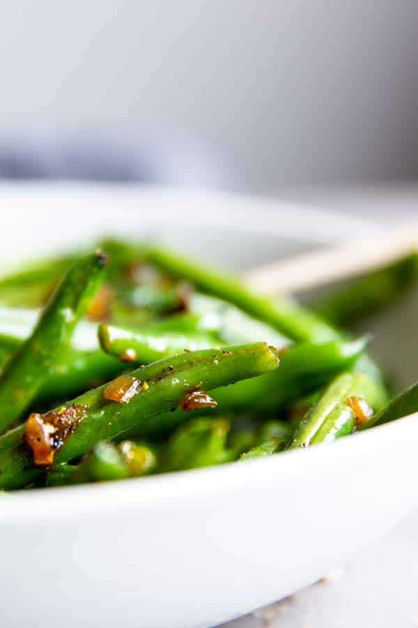 sautéed green beans in a bowl