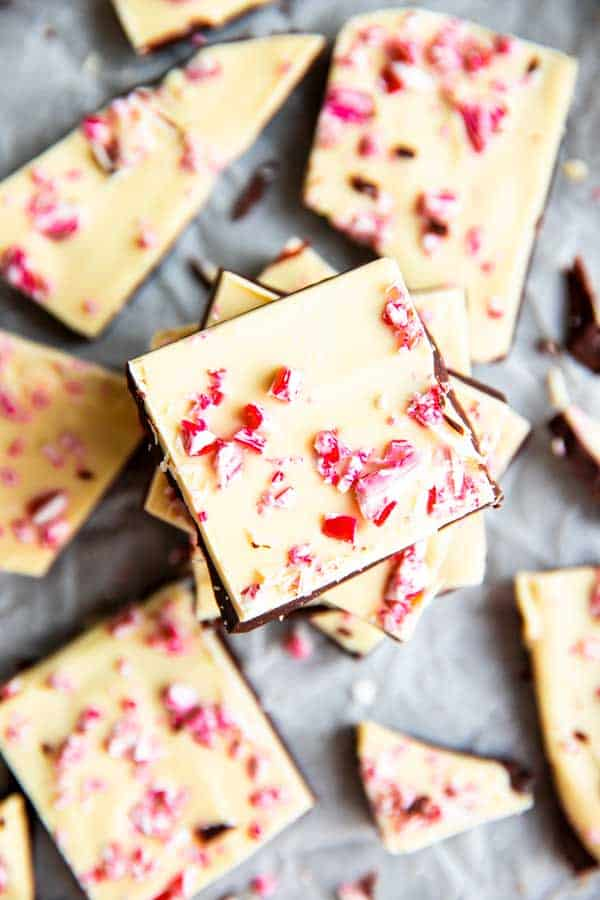peppermint bark on a piece of parchment paper