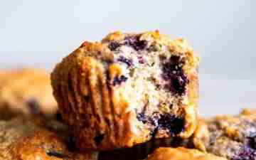 blueberry oatmeal muffin with a bite taken out