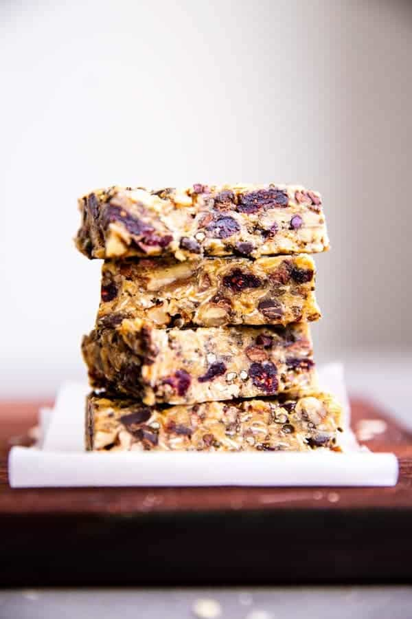 stack of healthy homemade granola bars