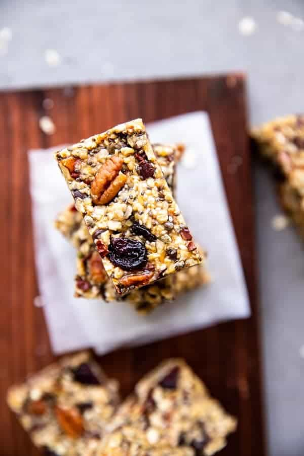 stack of healthy homemade granola bars from top down