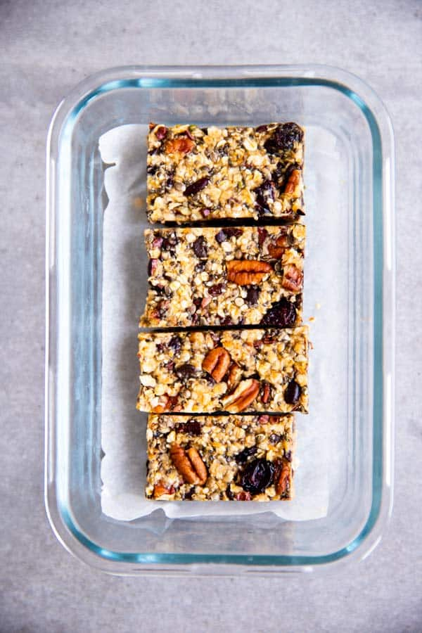 healthy homemade granola bars in a glass container