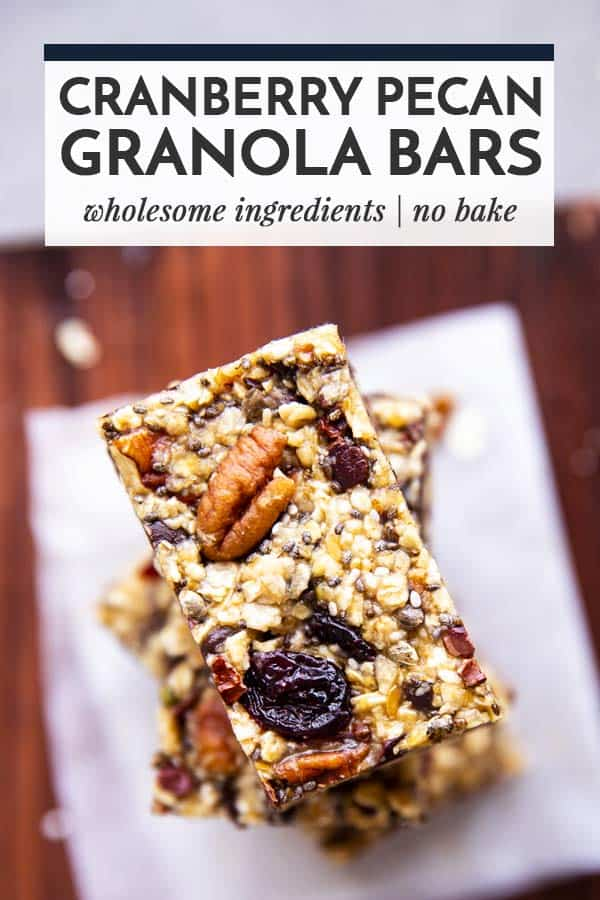 granola bars on a wooden board with text overlay