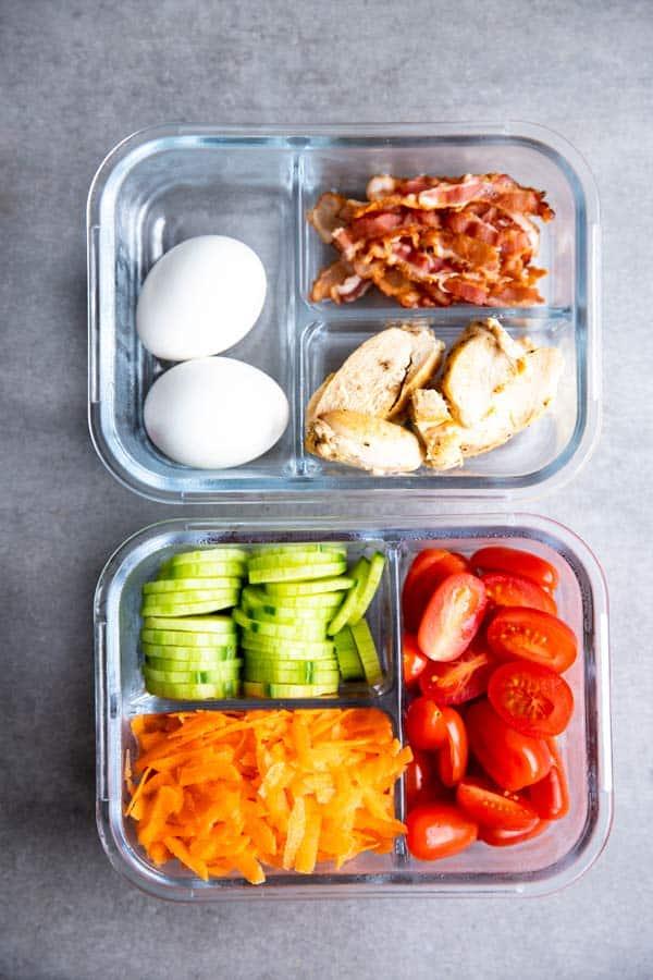 ingredients for meal prep Cobb salad