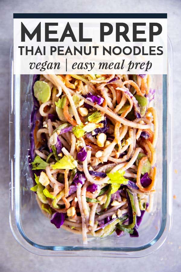 Thai peanut noodles in glass container with text overlay