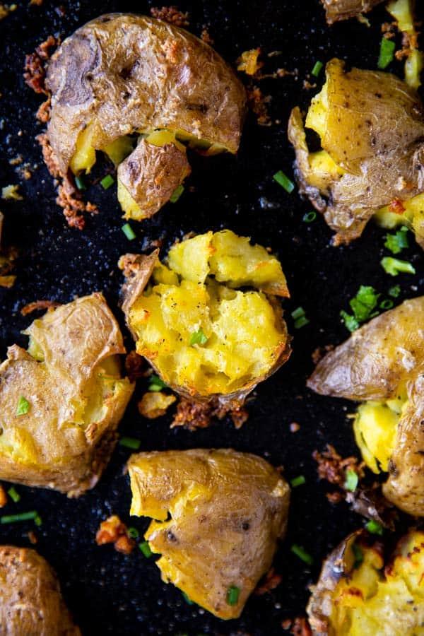 overhead photo of garlic smashed potatoes