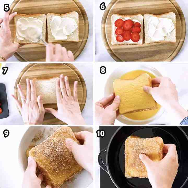 collage of step by step photos for preparing stuffed French toast