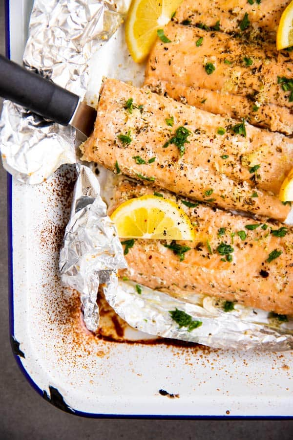 lemon garlic butter salmon baked in foil