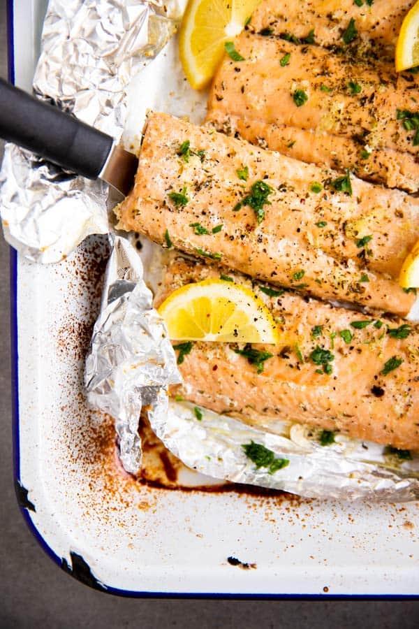 lemon garlic butter salmon baked in foil