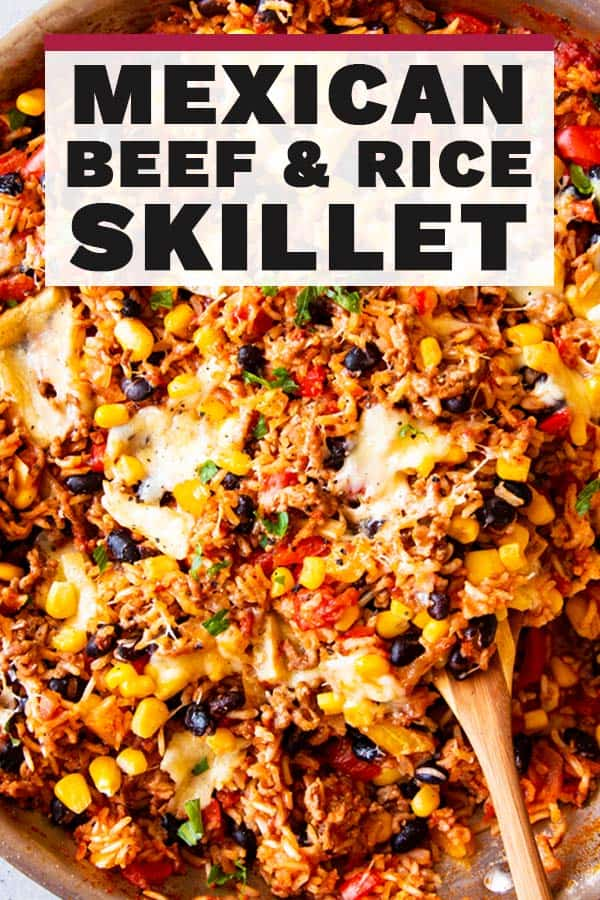 Mexican Beef and Rice Skillet Pin 1