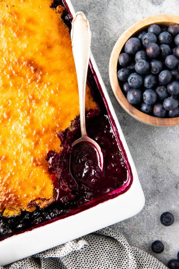 dish with blueberry cobbler