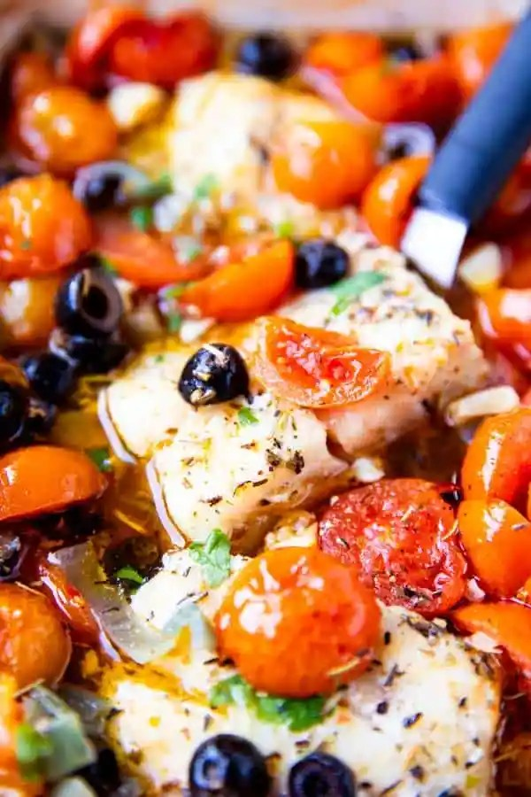 close up photo of mediterranean baked cod