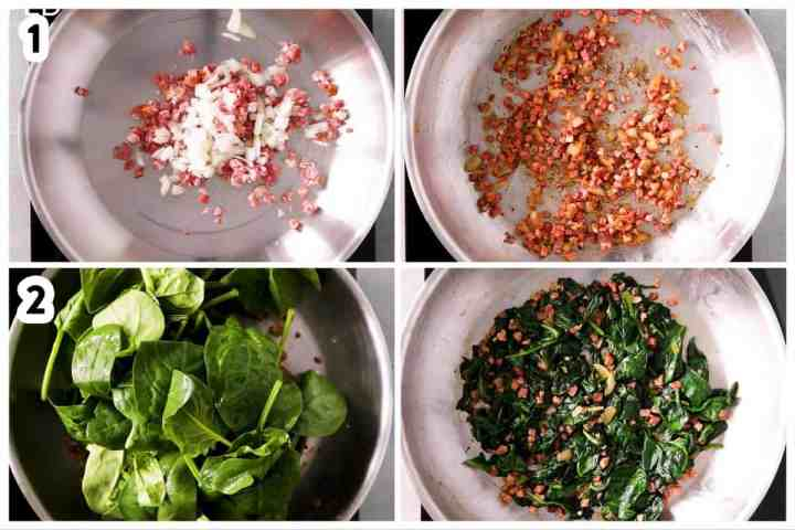 photo collage to show how to make bacon spinach quiche filling