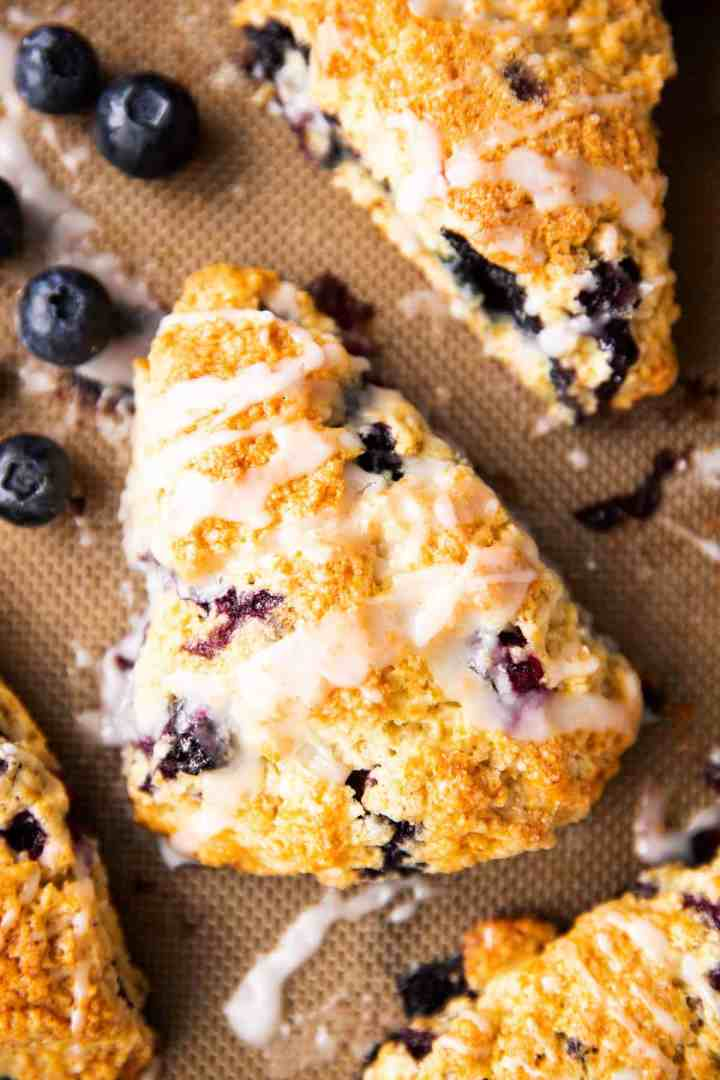 top down closeup on blueberry scone