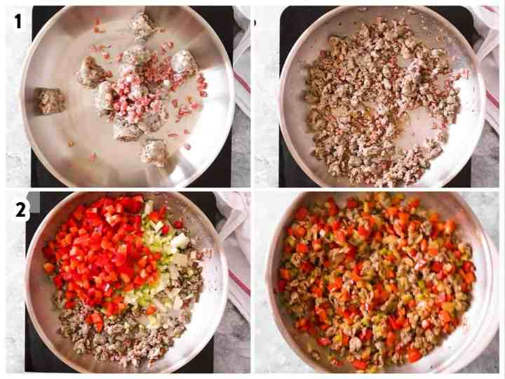 photo collage to show how to sauté meat and vegetables to make a breakfast casserole