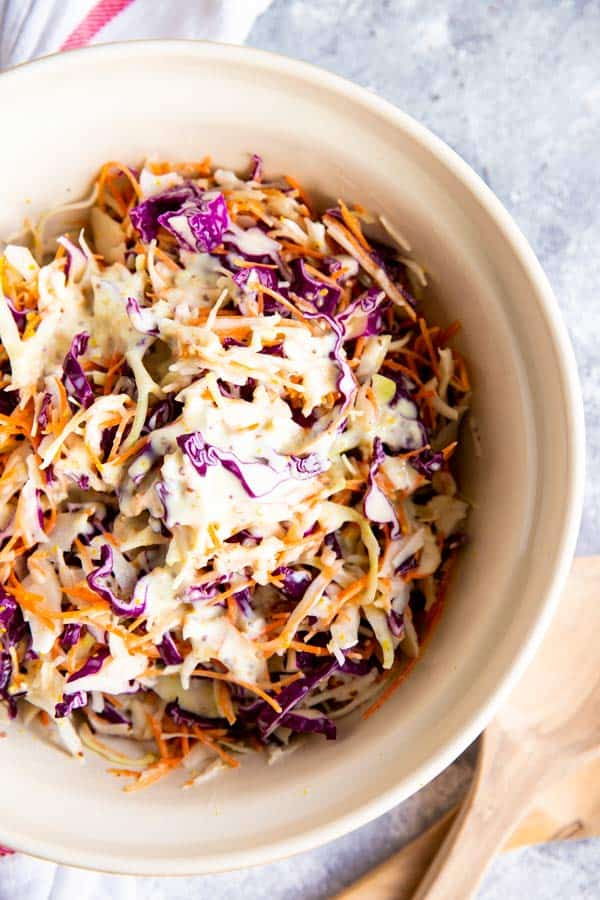 bowl with creamy coleslaw