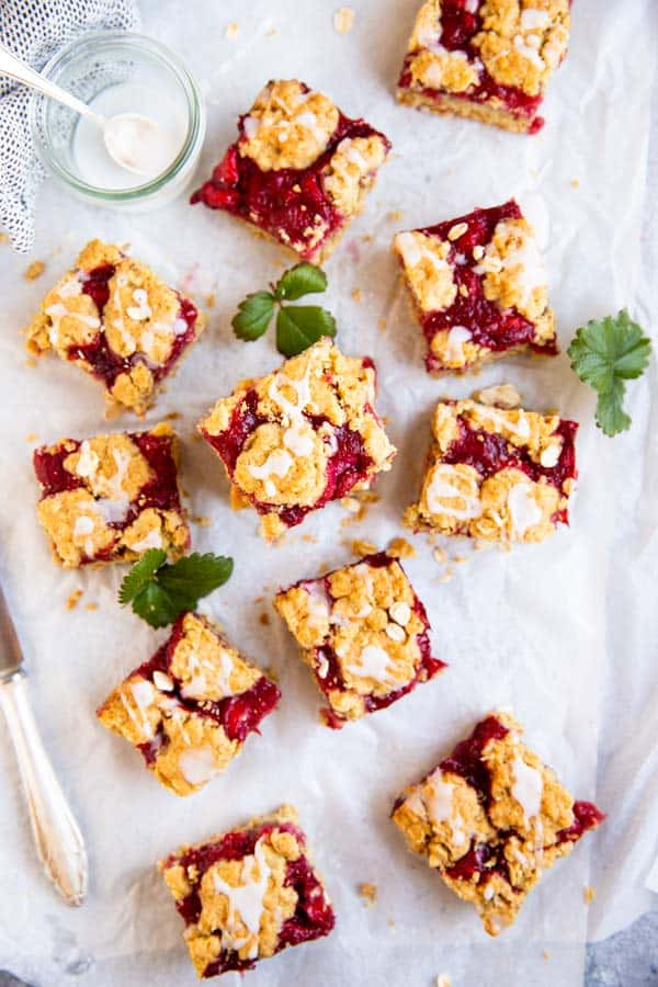scattered strawberry oatmeal bars