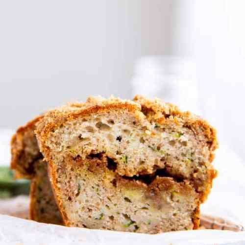 slice of cinnamon swirl zucchini bread