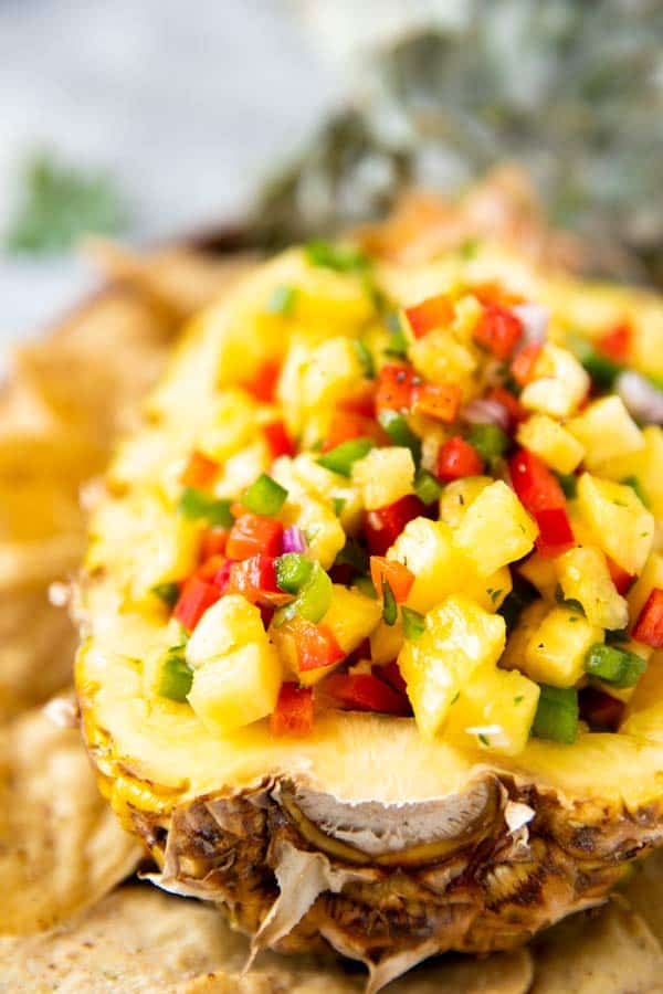 close up of pineapple salsa