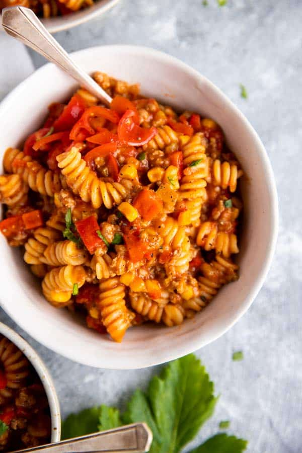 bowl filled with cheesy taco pasta